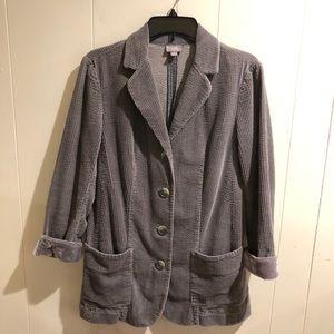 J. Jill Soft Corduroy Coat Velvet Detail